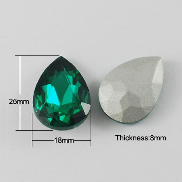 PandaHall Glass Pointed Back Rhinestone, Back Plated, Faceted, Drop, SeaGreen, 25x18x8mm Glass Rhinestone Teardrop Green