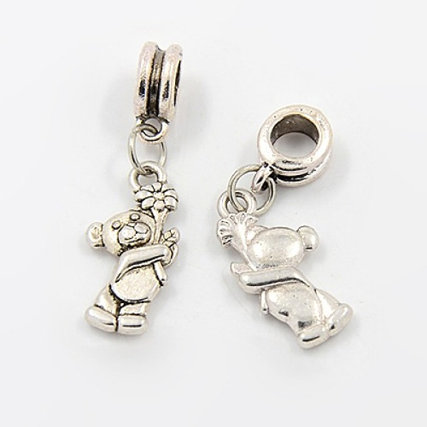 PandaHall Alloy European Dangle Beads, Bear, Antique Silver, 31mm, Hole: 5mm Alloy Bear