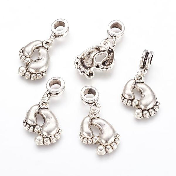 PandaHall Alloy European Dangle Beads, Foot, Antique Silver, 32mm, Hole: 5mm Alloy Others