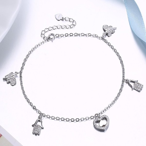 PandaHall 925 Sterling Silver Charm Anklets, Butterfly & Heart & Hamsa Hand, Silver, 8-1/4 inches(210mm) Sterling Silver