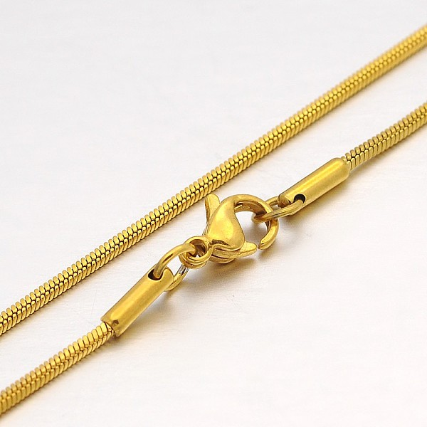 PandaHall 304 Stainless Steel Snake Chains Necklaces, with Lobster Claw Clasps, Golden, 19.5
