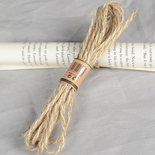 PandaHall Hemp Cord, Hemp String, Hemp Twine, 3 Ply, for Jewelry Making, Tan, 4mm; 10m/bundle Burlap Orange