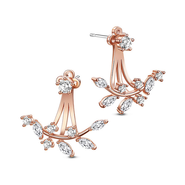 PandaHall SHEGRACE® Trendy 18K Gold Plated Brass Ear Jackets, with Micro Pave AAA Cubic Zirconia Twig, Rose Gold, 20mm Cubic Zirconia...