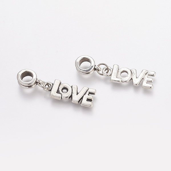 PandaHall Alloy European Dangle Beads, Word LOVE, Antique Silver, 33mm, Hole: 5mm Alloy Others