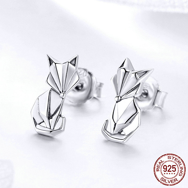 PandaHall 925 Sterling Silver Stud Earrings, Carved 925, Fox, Antique Silver, 13x7mm Sterling Silver