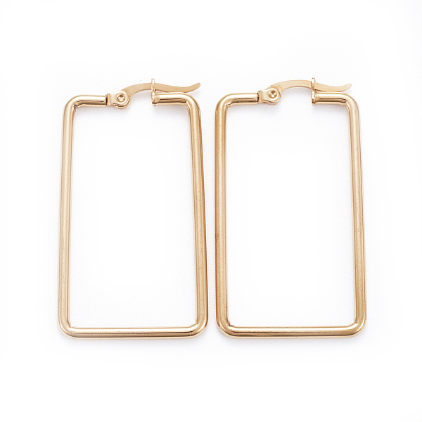 PandaHall Simple Fashion 304 Stainless Steel Hoop Earrings, Geometrical, Rectangle, Golden, 42x23.5x2mm; Pin: 0.6x1mm Stainless Steel