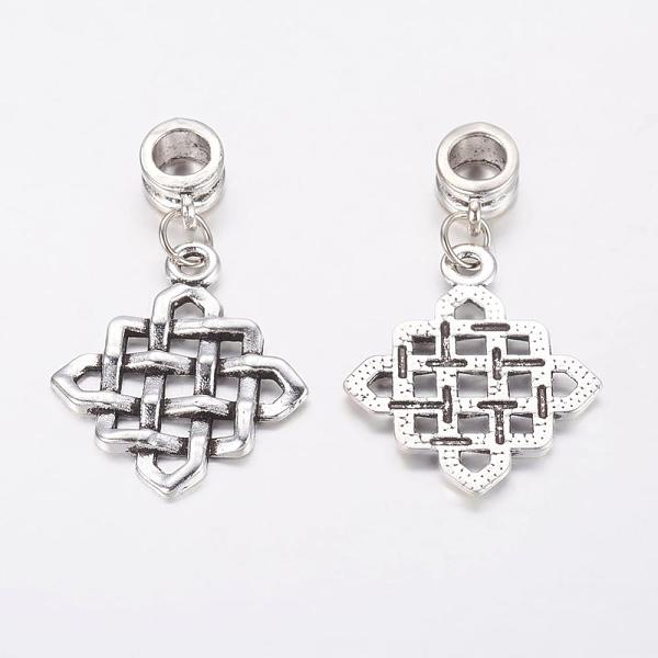PandaHall Alloy European Dangle Beads, Square, Antique Silver, 36mm, Hole: 5mm Alloy Square