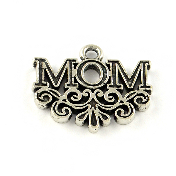 PandaHall Mother's Day Theme, Word Mom Tibetan Style Alloy Pendant Enamel Settings, Lead Free, Antique Silver, 17x20x2mm, Hole: 1.5mm; about...