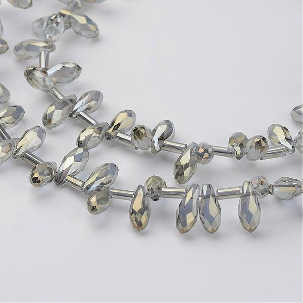 PandaHall Electroplate Glass Bead Strands, Faceted Drop, SlateGray, 9x4mm, Hole: 1mm; about 98pcs/strand, 17.3'' Glass Teardrop Gray