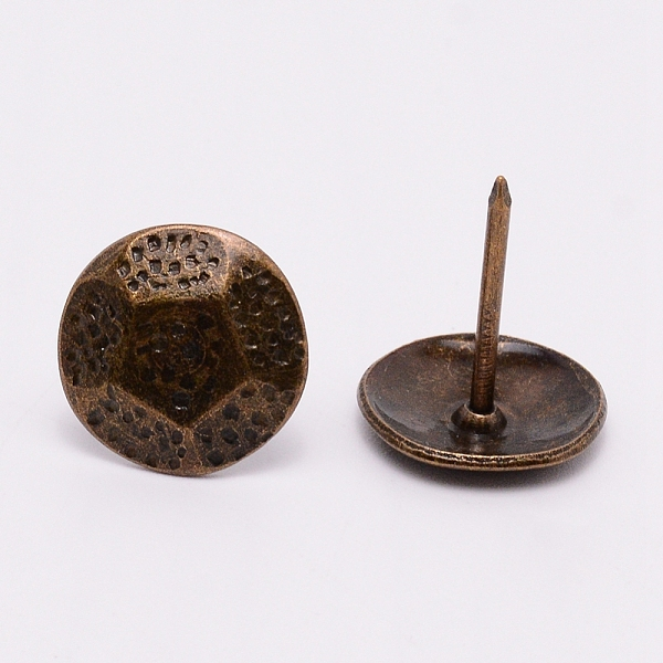 PandaHall Iron Nails, Sofa Foam Nails, for Furniture Decoration, Round, Antique Bronze, 22.9x19.8mm, Pin: 1.9mm Iron