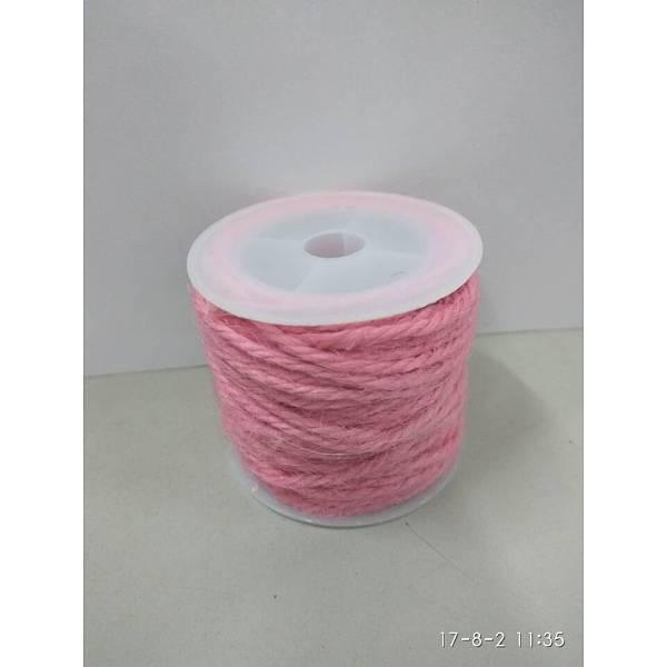 PandaHall Hemp Cord, Hemp String, Hemp Twine, for Jewelry Making, Pink, 2mm; 10m/roll Burlap Pink