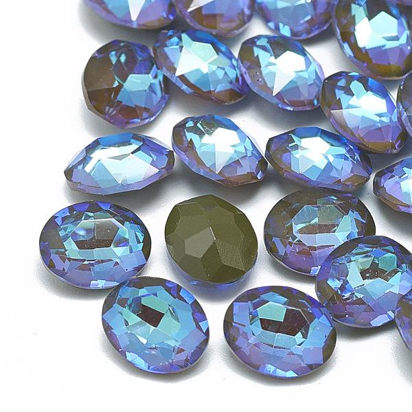 PandaHall Pointed Back K9 Glass Rhinestone Cabochons, Back Plated, Fluorescent, Oval, Olivine, 10x8x5mm Glass Rhinestone Oval