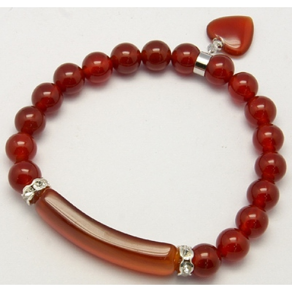 PandaHall_Natural_Gemstone_Charm_Bracelets,_Mother's_Day_Gift_Bracelets,_Carnelian,_Natural_Agate,_58mm_Natural_Agate_Red