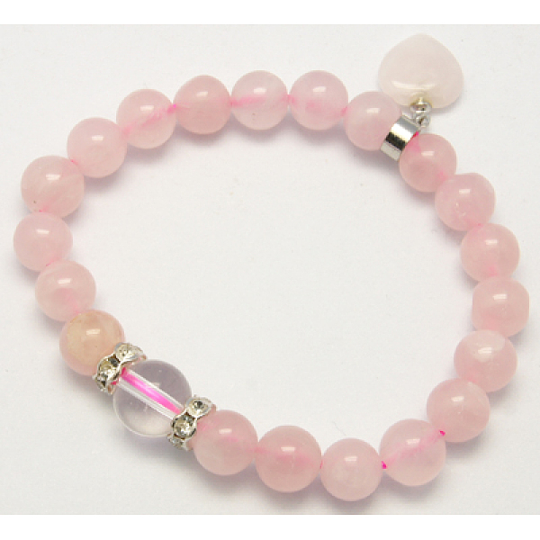 PandaHall Natural Rose Quartz Charm Bracelets, Mother's Day Jewelry Gift, Pink, 58mm Rose Quartz Pink