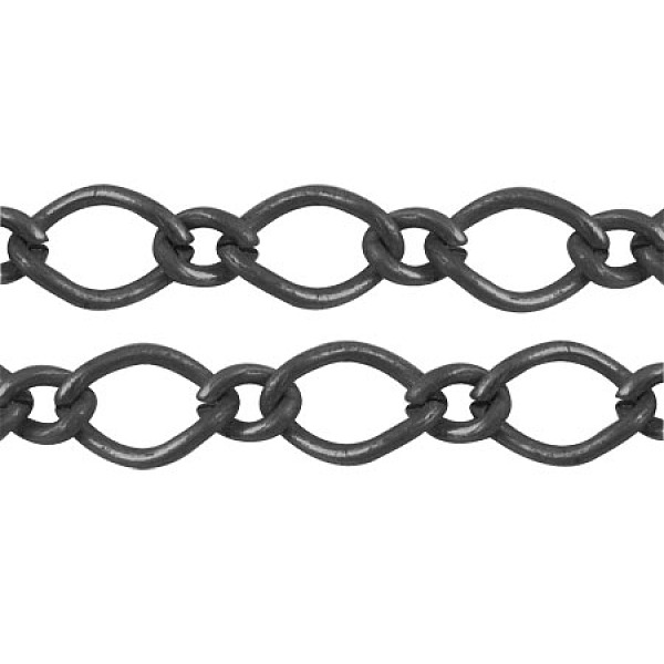 PandaHall Gunmetal Iron Handmade Chains Figaro Chains Mother-Son Chains, Unwelded, with Spool, Mother link: 7x10mm, Son link: 4x6mm, 1.2mm...