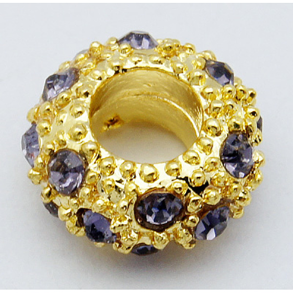 PandaHall Alloy Rhinestone European Beads, Large Hole Beads, Golden Metal Color, Tanzanite, 11x6mm, Hole: 5mm Alloy+Rhinestone R