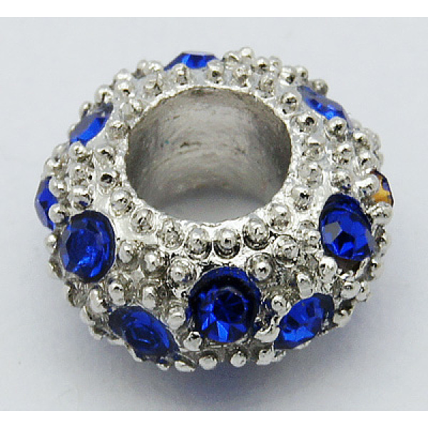 PandaHall Alloy Rhinestone European Beads, Large Hole Beads, Rondelle, Platinum Metal Color, Sapphire, 11x6mm, Hole: 5mm Alloy+R
