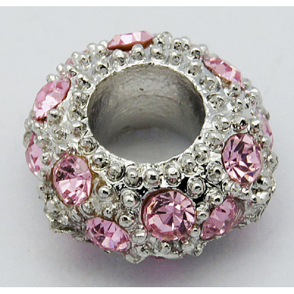 PandaHall Alloy Rhinestone European Beads, Large Hole Beads, Rondelle, Platinum Metal Color, Rose, 11x6mm, Hole: 5mm Alloy+Rhine