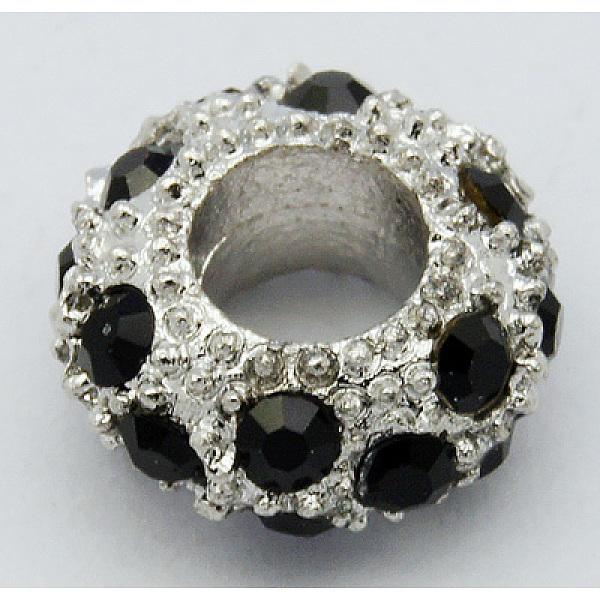 PandaHall Alloy Rhinestone European Beads, Large Hole Beads, Rondelle, Platinum Metal Color, Jet, 11x6mm, Hole: 5mm Alloy+Rhines
