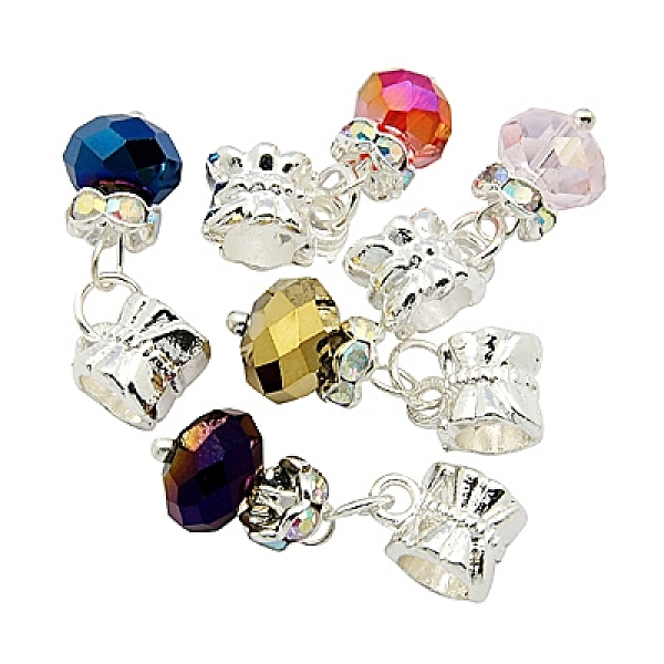 PandaHall European Dangle Beads, with Alloy, Brass and Glass Findings, Rondelle, Silver Metal Color, Mixed Color, Size: about 8m