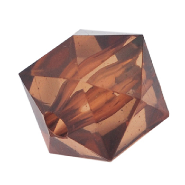 PandaHall Transparent Acrylic Beads, Faceted Rhombus, Brown, about 12mm long, 14mm wide, Hole: 2mm, 391pcs/500g Acrylic Hexagon Brown