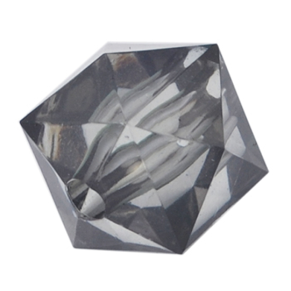 PandaHall Transparent Acrylic Beads, Faceted Hexagon, black, about 12mm long, 14mm wide, hole: 2mm, 391pcs/500g Acrylic Hexagon Black