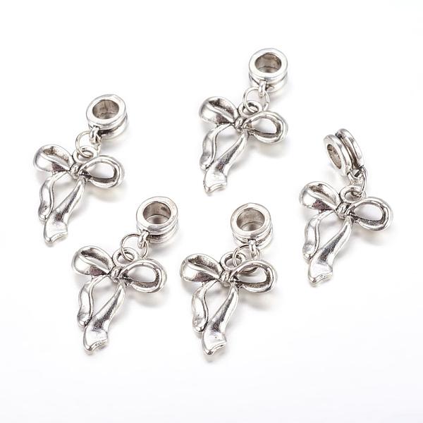 PandaHall Alloy European Dangle Beads, Bowknot, Antique Silver, 34mm, Hole: 5mm Alloy Bowknot