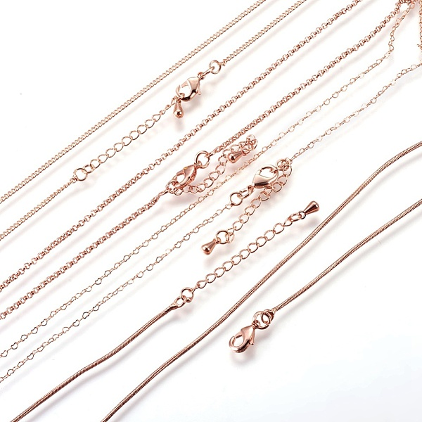 PandaHall Long-Lasting Plated Brass Chains Necklaces, with Lobster Claw Clasp, Nickel Free, Rose Gold, 18.1''(46cm), 4pcs/set Brass
