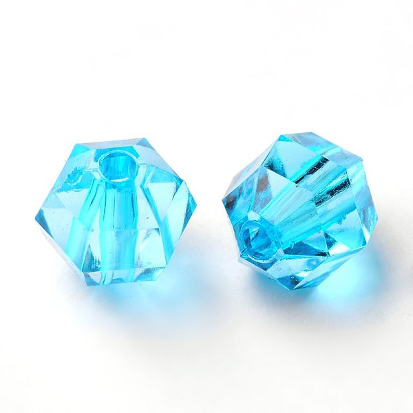 PandaHall Transparent Acrylic Beads, Faceted Round, SkyBlue, about 8mm long, 8.5mm wide, 7mm thick, hole: 1.5mm, about 1650pcs/500g Acrylic...