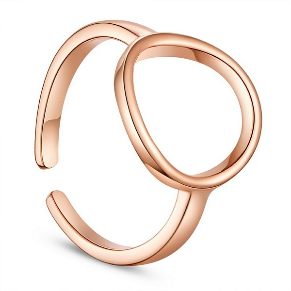 PandaHall SHEGRACE® Simple Design 925 Sterling Silver Finger Rings, with Circle, Rose Gold, Size 7, 17mm Sterling Silver