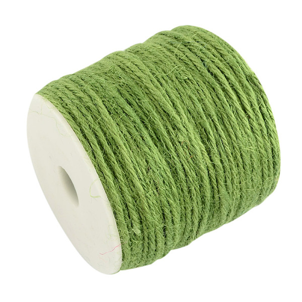PandaHall Colored Hemp Cord, Hemp String, Hemp Twine, 3-Ply, for Jewelry Making, YellowGreen, 2mm; 100m/roll Burlap Green
