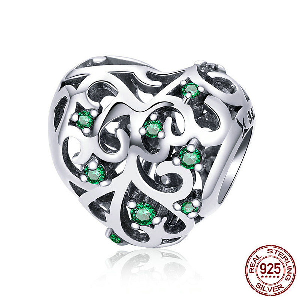 PandaHall 925 Sterling Silver European Beads, with Cubic Zirconia, Large Hole Beads, Heart, Antique Silver, 11x12mm, Hole: 4.2~4.5mm...