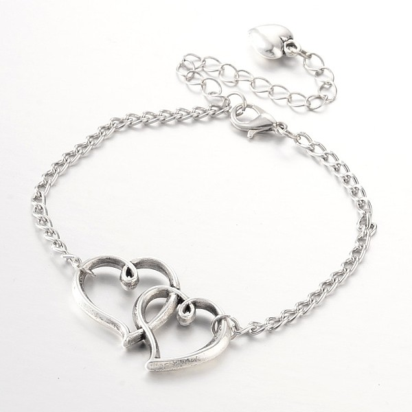 PandaHall Heart to Heart Tibetan Style Alloy Link Anklets, with Iron Chains and Alloy Lobster Claw Clasps, Antique Silver, 225x3mm Alloy