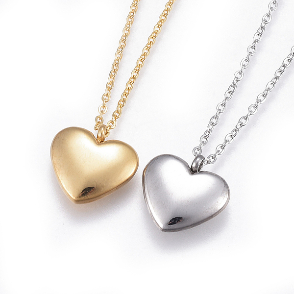 PandaHall 304 Stainless Steel Pendant Necklaces, with Cable Chains, Heart, Mixed Color, 17.7