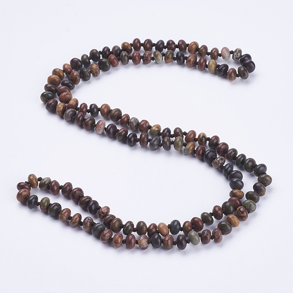 "PandaHall_Natural_Picasso_Stone_Beaded_Multi-use_Necklaces_Wrap_Bracelets,_Three-Four_Loops_Bracelets,_Abacus,_37.4""(95cm)_Picasso_Jasper"