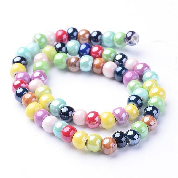 PandaHall Handmade Porcelain Beads, Bright Glazed Porcelain, Rondelle, Colorful, 7x5mm, Hole: 2mm; about 65pcs/strand, 13.3