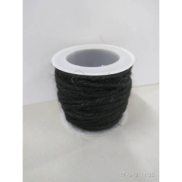 PandaHall Hemp Cord, Hemp String, Hemp Twine, for Jewelry Making, Black, 2mm; 10m/roll Burlap Black