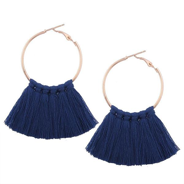PandaHall Alloy Hoop Earrings, with Tassel, MarineBlue, 65x55mm Alloy Blue