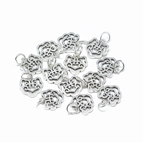 PandaHall Thai 925 Sterling Silver Charms, with Jump Ring, Longevity Lock, Antique Silver, 12x12x1.5mm, Hole: 4mm Thai Sterling Silver Lock