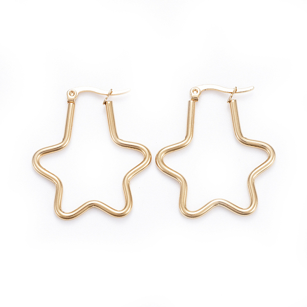 PandaHall Simple Fashion 304 Stainless Steel Hoop Earrings, Geometrical, Star, Golden, 34x30x2mm; Pin: 0.7x1mm Stainless Steel