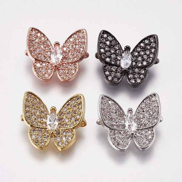 PandaHall Brass Micro Pave Cubic Zirconia Links, Butterfly, Mixed Color, Clear, 13x14.5x4mm, Hole: 1mm Brass+Cubic Zirconia Butterfly Clear