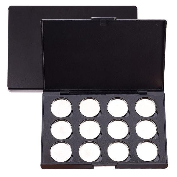 PandaHall Empty Magnetic Eyeshadow Makeup Boxs, with 12PCS Round Metal Pans, for Eyeshadow Powder, Rectangle, Black, 15.1x10x1.05cm; Pans...