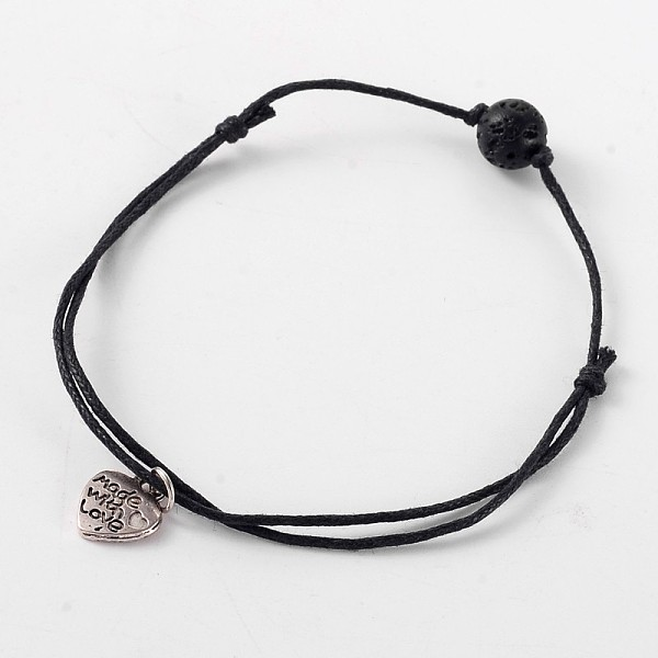 PandaHall Trendy Waxed Cotton Cord Anklets, with Lava Rock Beads and Tibetan Style Antique Silver Alloy Heart Charms, 150~300mm Lava Rock...