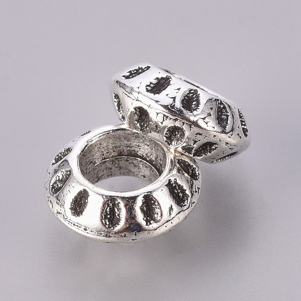 PandaHall Alloy European Round Beads, Large Hole Beads, Lead Free and Cadmium Free, Antique Silver, about 5mm long, 10mm diamete