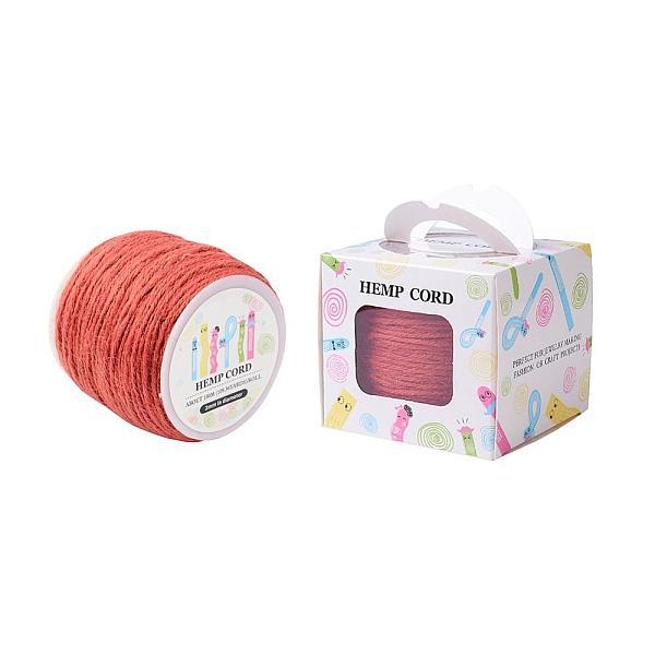 PandaHall Colored Hemp Cord, Hemp String, Hemp Twine, for Jewelry Making, OrangeRed, 2mm; 109.36yards/roll(100m/roll) Burlap Red