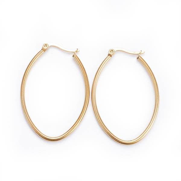 PandaHall Simple Fashion 304 Stainless Steel Hoop Earring, Geometrical, Oval, Golden, 43x29x2mm; Pin: 0.6x1mm Stainless Steel
