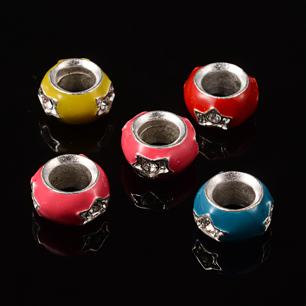 PandaHall Mixed Rondelle Shape Alloy European Rhinestone Beads, with Enamel, Silver Color, Size: 13~14mm in diameter, 8~9mm thic