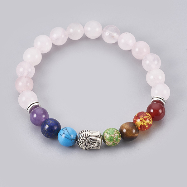 PandaHall Natural Rose Quartz Stretch Bracelets, Chakra Jewelry, with Mixed Stone and Resin Beads, Metal Findings and Burlap Packing, Round...