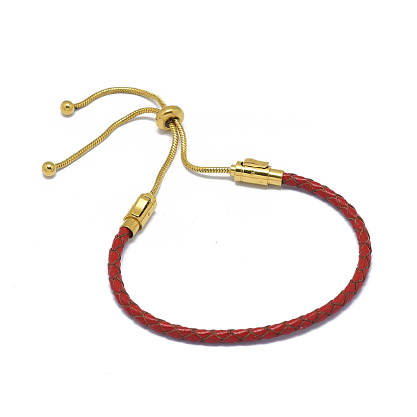 "PandaHall_Adjustable_Leather_Cord_Bracelets,_Slider_Bracelets,_with_316_Stainless_Steel_Findings,_Red,_2""~3-3_8""(5~8.5cm)_Red"