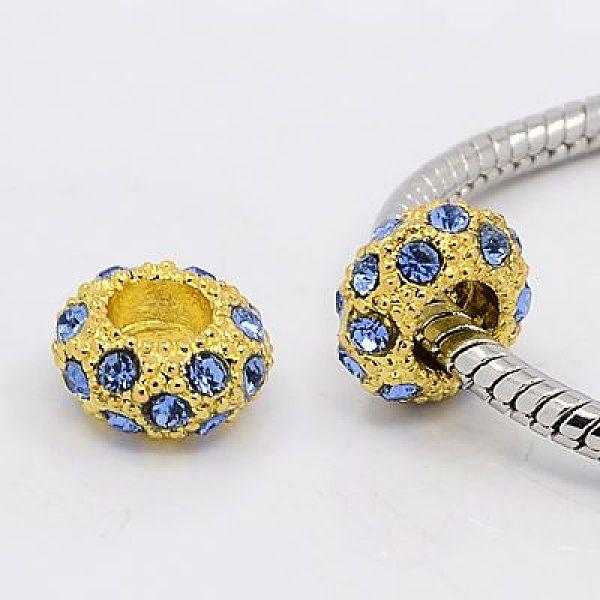 PandaHall Alloy Rhinestone European Beads, Large Hole Beads, Golden Metal Color, Light Sapphire, 11x6mm, Hole: 5mm Alloy+Rhinest